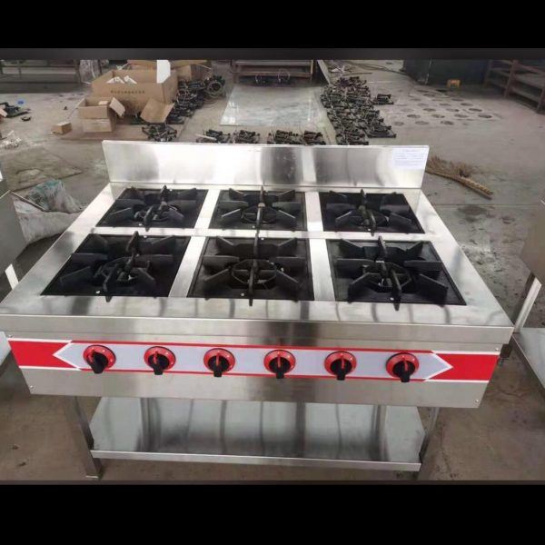 6 burner industrial Gas cooker without Oven
