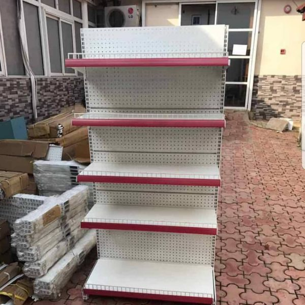 Supermarket steel display standing shelves
